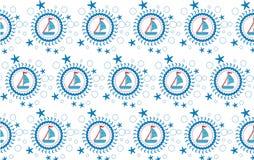 Versenden Sie See- oder themenorientiertes Marinemuster des Segelnmusters Lizenzfreies Stockbild