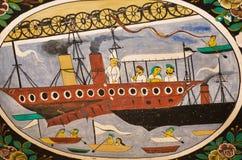 Versenden Sie Segel in einem Ozean mit Passagieren auf historischem Fresko Lizenzfreie Stockfotografie
