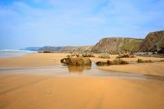 Versenden Sie Wrack, kornisches Wrack Cornwall Großbritannien Duckpool-Strandes Lizenzfreies Stockfoto