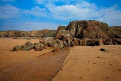 Versenden Sie Wrack, kornisches Wrack Cornwall Großbritannien Duckpool-Strandes Stockfoto