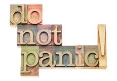 Versetzen Sie nicht in Panik Lizenzfreies Stockbild