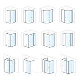 Versez les clôtures, l'installation de salle de bains et les solutions de montage, types de pictogramme illustration libre de droits