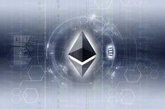 Versión azul gris de las ilustraciones digitales del logotipo de la moneda de Ethereum Foto de archivo