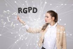 Versión de RGPD, del español, francesa e italiana de la versión de GDPR: Datos de Reglamento General de Proteccion de Datos gener fotografía de archivo
