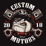Versión del color del diseño de la camiseta del motorista del dogo del motorista Fotografía de archivo libre de regalías
