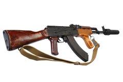 Versión del rumano del Kalashnikov AK 47 con el supresor sano (silenciador) fotos de archivo
