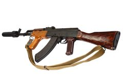 Versión del rumano del Kalashnikov AK 47 con el supresor sano (silenciador) imagen de archivo