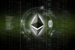 Versión digital del verde de las ilustraciones del logotipo de la moneda de Ethereum Foto de archivo