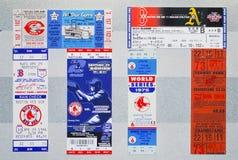 Versión grande de los boletos de Boston Red Sox en la visualización imagen de archivo libre de regalías