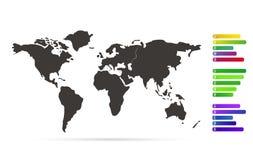 Versión negra del mapa del mundo con las etiquetas infographic Fotografía de archivo libre de regalías