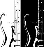 Versión negro-blanca de la guitarra eléctrica Imágenes de archivo libres de regalías