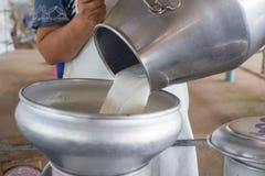 Versi il latte crudo Fotografia Stock
