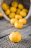 Versi l'arancia sul pavimento di legno Fotografia Stock Libera da Diritti
