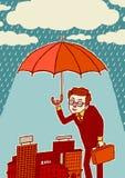 versicherung Geschäftsmannschreiben mit einem Filzstift Ein Mann mit einem Regenschirm schützt die Stadt Stockbild