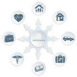 Versicherung-Service-Konzept-auf-weiß-Hintergrund-grau-Karte Stockfotografie