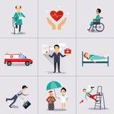 Versicherungs-Charakter und Ikonen-Schablone Vektor Stockfotos