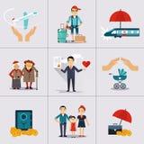 Versicherungs-Charakter und Ikonen-Schablone Vektor Stockbilder