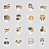 Versicherungs-Ikonen-Aufkleber-Satz Stockfotos