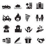 Versicherungs-Ikonen-Vektor-Illustrations-Symbol-Satz 2 Lizenzfreies Stockbild