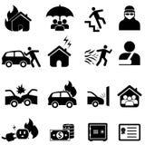 Versicherungs- und Unfallikonensatz Lizenzfreies Stockfoto