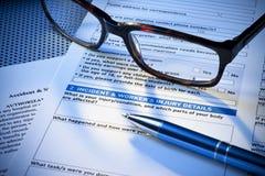 Versicherungs-Verletzungs-Report-Formular Lizenzfreies Stockfoto
