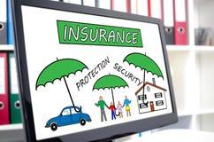 Versicherungskonzept auf einem Bildschirm Stockfotografie