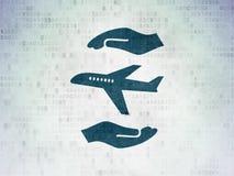 Versicherungskonzept: Flugzeug und Palme auf Digital-Daten tapezieren Hintergrund Lizenzfreies Stockfoto