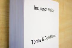 Versicherungspolice-Ausdrücke u. Zustände Stockfoto