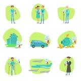 Versicherungsvertrag-schützende lächelnde Leute in Different Complicated Situations Insurance Company halten Infographic instand Lizenzfreie Stockfotos