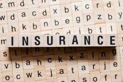 Versicherungswortkonzept stockbild