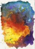 Versicolor schönes helles buntes Aquarell des Regenbogens befleckt, abstraktes Bild stockbild