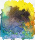 Versicolor schönes helles buntes Aquarell des Regenbogens befleckt, abstraktes Bild stockfotos