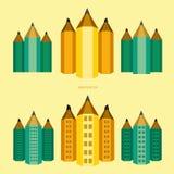 """Versie van de potlood†de """"stad van gebouwen stock afbeelding"""