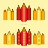 """Versie van de potlood†de """"stad van gebouwen stock foto's"""