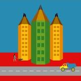 """Versie van de potlood†de """"stad van het actieve stadsleven stock foto's"""