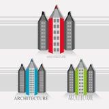 """Versie van de potlood†de """"stad van zwart-witte gebouwen stock foto's"""