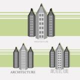 """Versie van de potlood†de """"stad in zwart-witte stijl Stock Afbeelding"""