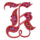 Versierde Gotische stijldoopvont, brief K Royalty-vrije Stock Foto
