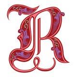 Versierde Gotische stijldoopvont, brief R Stock Foto