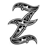 Versierde Gotische stijldoopvont, brief Z Royalty-vrije Stock Afbeeldingen