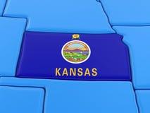 Översikt av det Kansas tillståndet med flaggan Fotografering för Bildbyråer