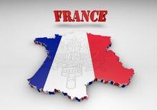 Översikt av Frankrike med flaggafärger Arkivbild