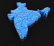 Översikt av Indien med flygbanor Royaltyfria Foton