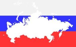 Översikt av Ryssland på bakgrunden av ryssflaggan Royaltyfri Bild