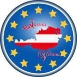 Översikt av Österrike och flaggan av den europeiska unionen Arkivfoto