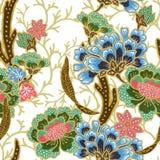 ?versikt f?r s?ml?s modell f?r tappning guld- med exotisk traditionell blom- modellvattenf?rggouache royaltyfri illustrationer