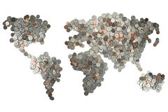 Översikt som göras av isolerade mynt på vit bakgrund Arkivbild