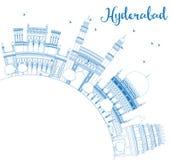 ÖversiktsHyderabad horisont med blått gränsmärken och kopieringsutrymme Fotografering för Bildbyråer