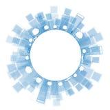 Översiktsstadsskyskrapor i blått färgar med kopieringsutrymme Royaltyfri Bild