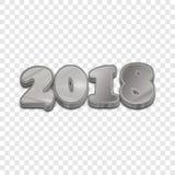 Versilbern Sie 2018 Artvektorzeichen des neuen Jahres 3d Lizenzfreies Stockbild